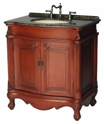 "32 inch Bathroom Vanity Traditional Style Cherry Color (32""Wx22""Dx35""H) S291732MXC"