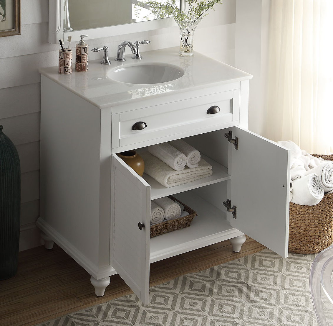 34 Inch Bathroom Vanity Beach Style White Color 34 Wx22 Dx35 H Cgd28867w34
