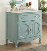 "34"" inch bathroom Vanity Coastal Cottage Beach Style Vintage Blue Color (34""Wx21""Dx35""H) CGD1533BU"