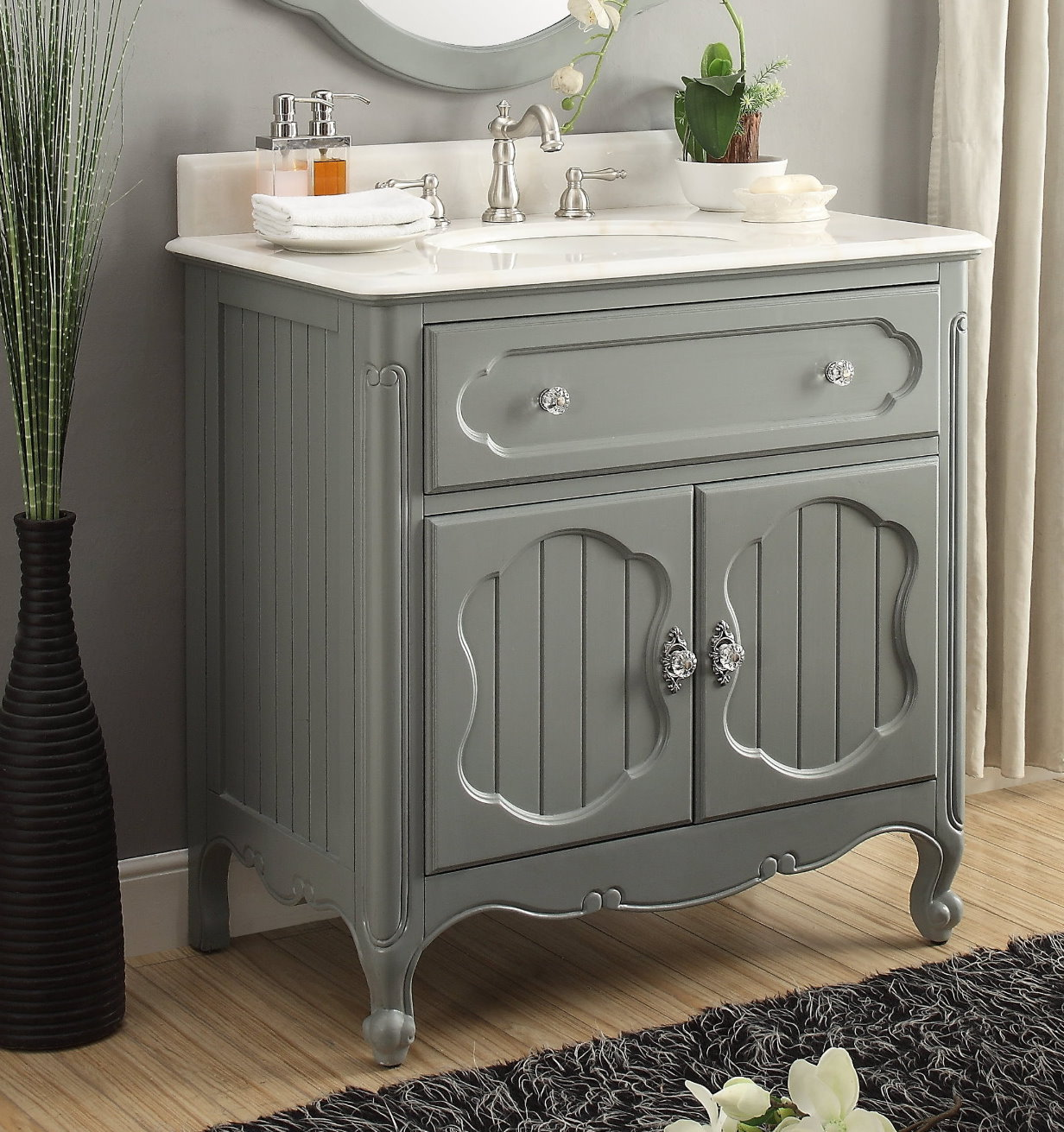34 Inch Bathroom Vanity Coastal Cottage Beach Style Vintage Gray Color Wx21 Dx35 H Cgd1533ck