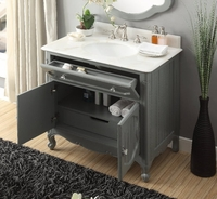 "34"" inch Bathroom Vanity Coastal Cottage Beach Style Vintage Gray Color (34""Wx21""Dx35""H) CGD1533CK"
