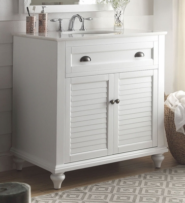 "34 inch Bathroom Vanity Coastal Cottage Beach Style White Color (34""Wx22""Dx35""H) CGD28667W34"