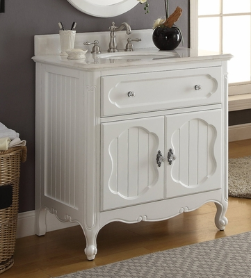 "34"" inch Bathroom Vanity Coastal Cottage Beach House Vintage Style White Color (34""Wx21""Dx35""H) CGD1533WT"