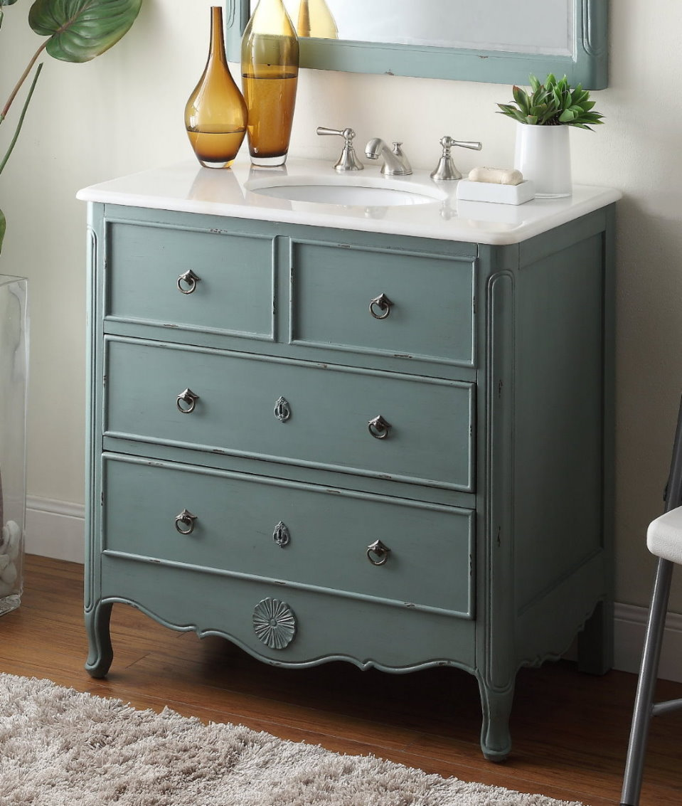 34 Inch Bathroom Vanity Cottage Beach Style Vintage Mint Blue Color 34 Wx21 Dx35 H Chf081y