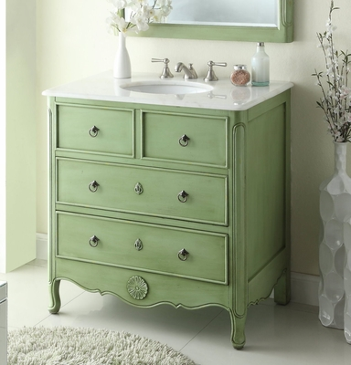 "34 inch Bathroom Vanity Cottage Beach Style Vintage Green Color (34""Wx21""Dx35""H) CHF081G"