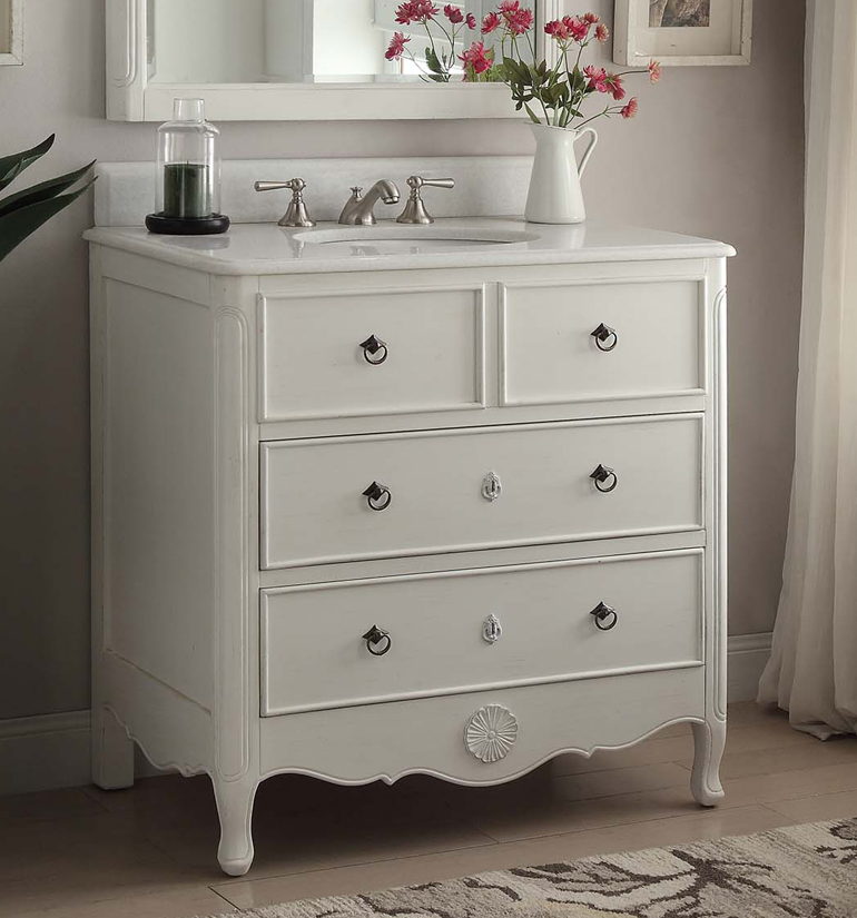 34 inch bathroom vanity cottage beach style vintage white color 34 wx21 dx35 h chf081aw for Bathroom vanities vintage style