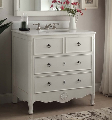 "34 inch Bathroom Vanity Cottage Beach Style Vintage White Color (34""Wx21""Dx35""H) CHF081AW"