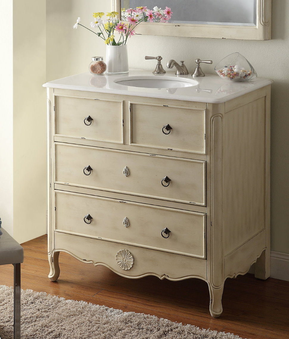 34 Inch Bathroom Vanity With Drawers Design Element 36 Inch Single Sink 4 Drawer White 36