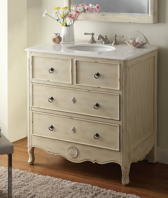 "34 inch Bathroom Vanity Cottage Beach Style Vintage Cream Color (34""Wx21""Dx35""H) CHF081WPC"