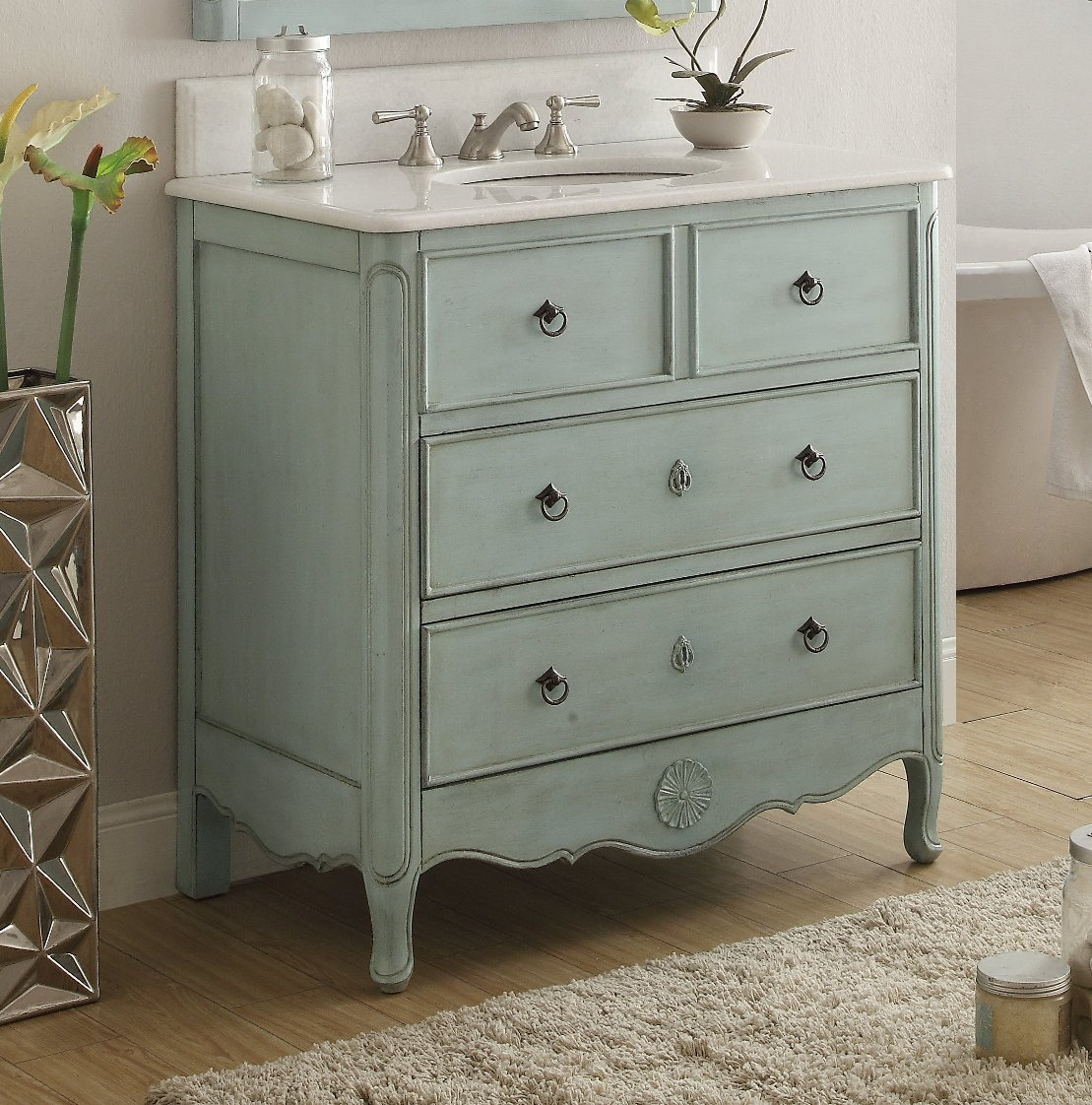 34 Inch Bathroom Vanity Cottage Beach Style Vintage Light Blue Color Wx21 Dx35 H Chf081lb