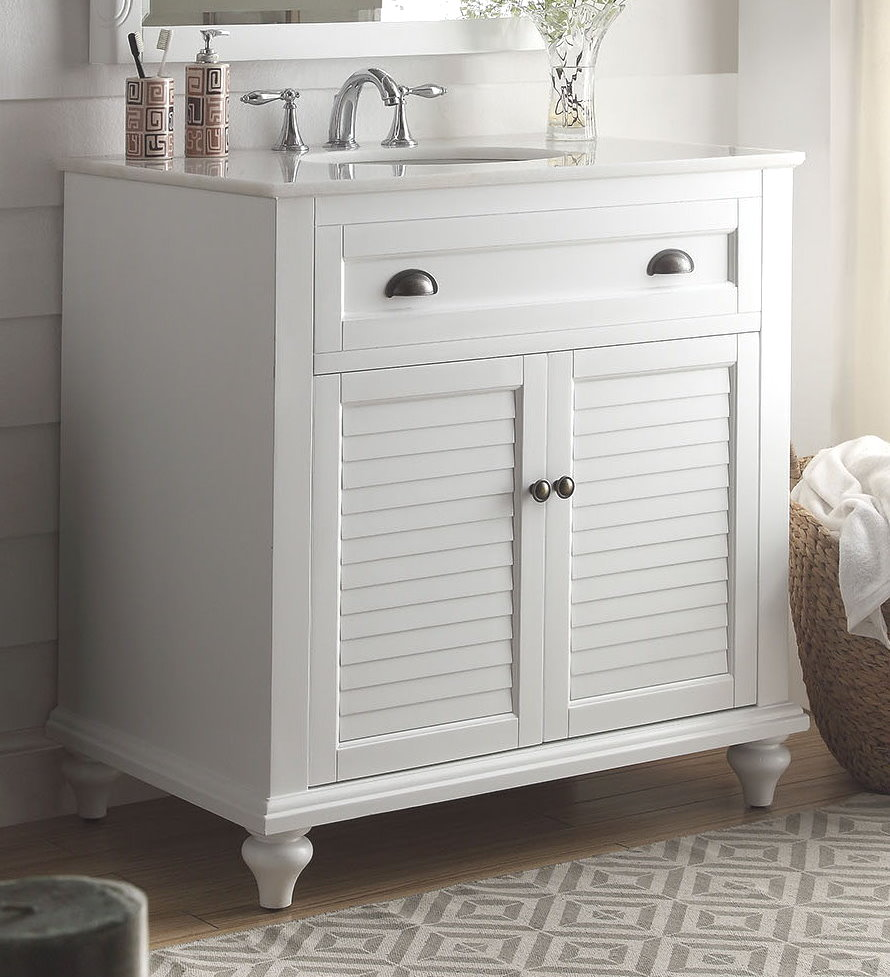 34 Inch Bathroom Vanity Cottage Beach Style White Color Wx22 Dx35 H Cgd28867w34