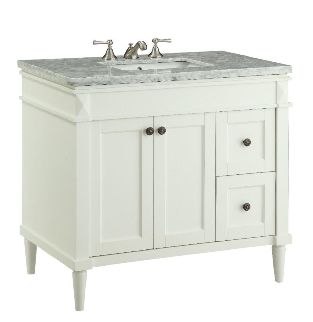 35 5 Inch Bathroom Vanity Cottage Shaker Style White 35 5 Wx21 5 Cv91715b