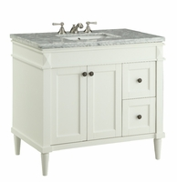 "35.5 inch Bathroom Vanity Cottage Shaker Beach Style White (35.5""Wx21.5""Dx32.25""H) CV91715B"