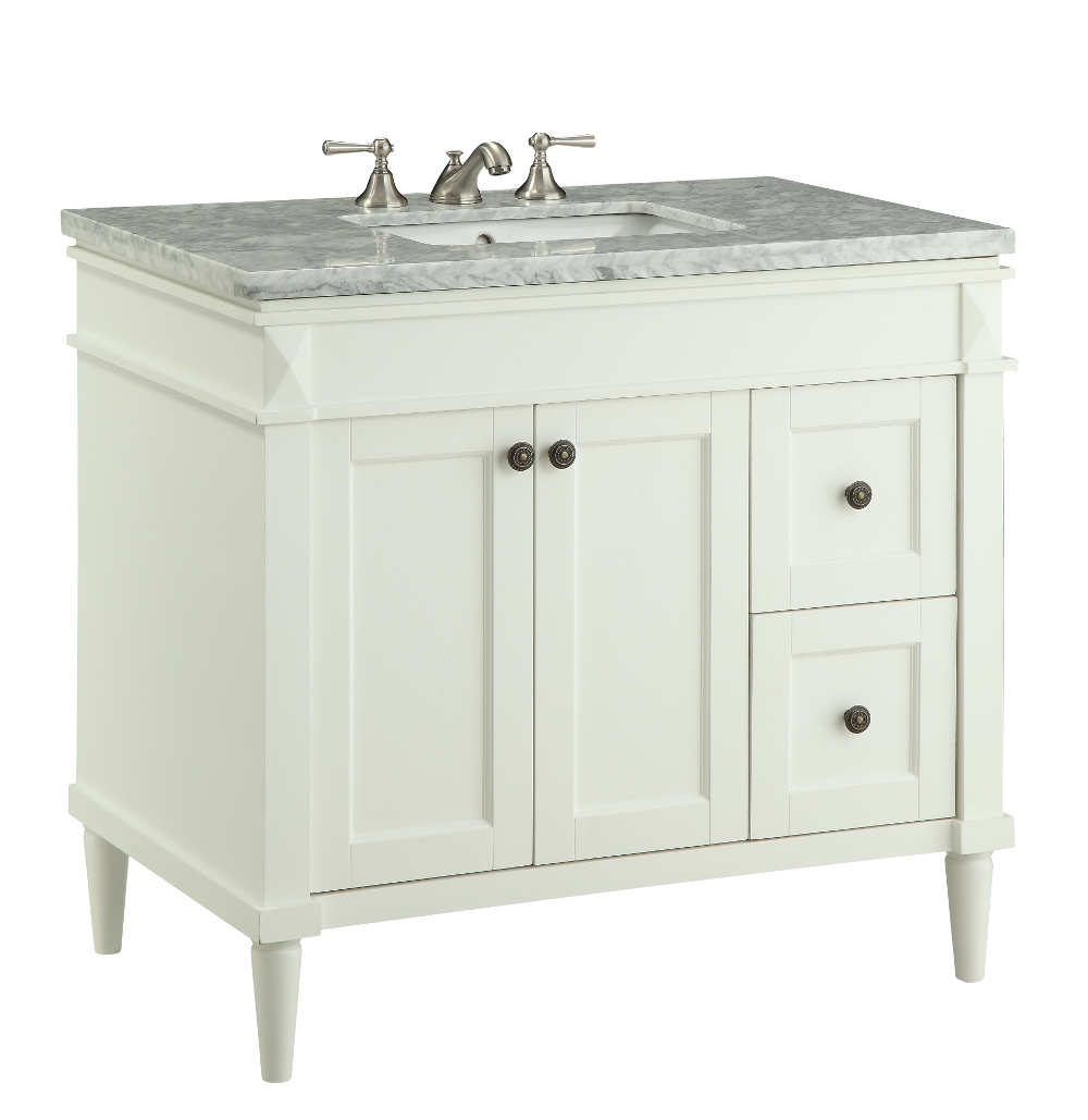 35 5 Inch Bathroom Vanity Transitional Style White Color 35 5 Wx21 5 Cv91715b