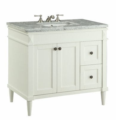 "35.5 inch Bathroom Vanity Transitional Style White Color (35.5""Wx21.5""Dx32.25""H) CV91715B"