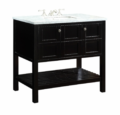 "35 inch Bathroom Vanity Open Shelf Style Dark Brown Color (35.5""Wx22""Dx32""H) CV91713B"