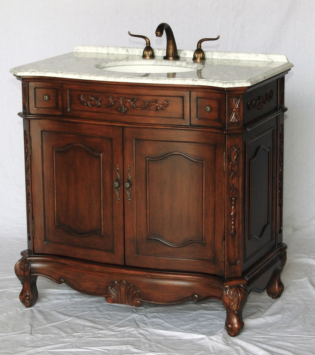 36 inch bathroom vanity antique walnut color carrara marble top (36 36 Inch Bathroom Vanity