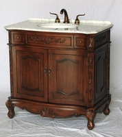 "36 inch Bathroom Vanity Antique Walnut Color Carrara Marble Top (36""Wx21""Dx37""H) S190536CA"