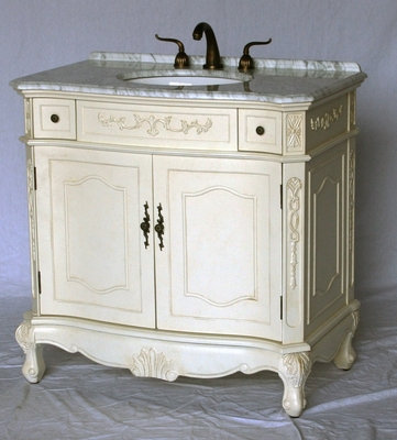 "36 inch Bathroom Vanity Antique White Color Carrara Marble Top (36""Wx21""Dx37""H) 190536261CA"