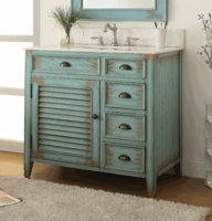 "36"" inch Bathroom Vanity Coastal Cottage Beach Style 3 Drawers Teal Blue Color (36""Wx21.5""Dx34""H) CCF78887BU"