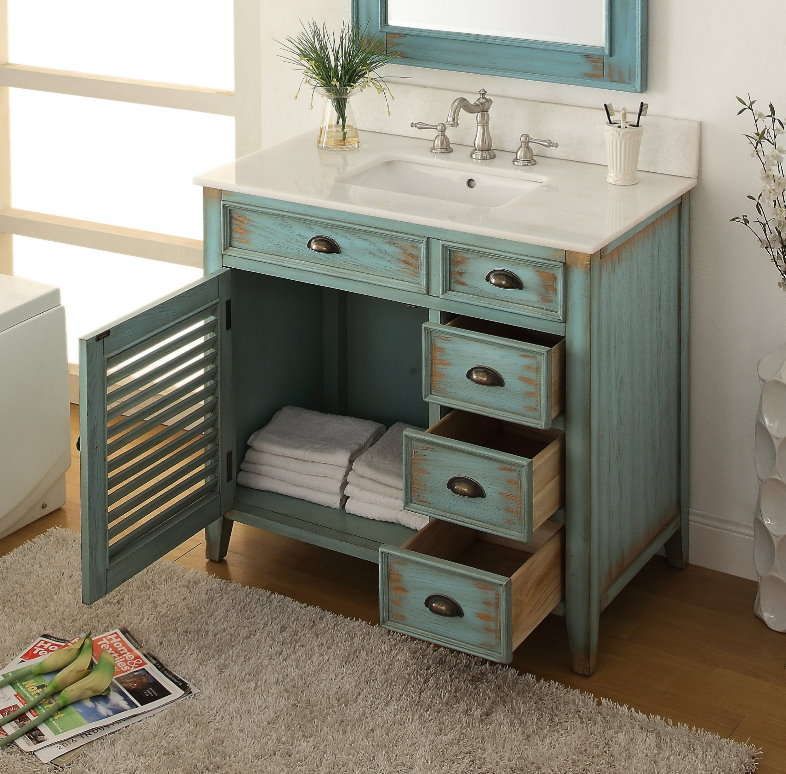 "Nautical Style Bathroom Vanities: 36"" Inch Bathroom Vanity Coastal Cottage Beach Style 3"