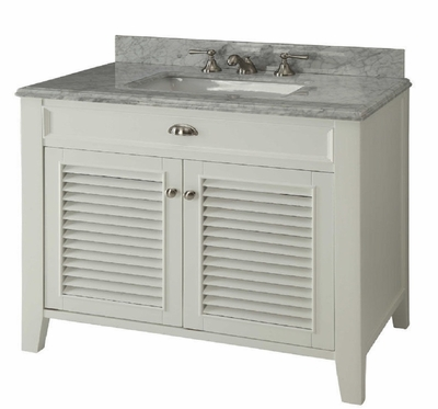 "36 inch Bathroom Vanity Louvered Shutter Doors Style Off White Color (36""Wx22""Dx35""H) CYR3028Q36"
