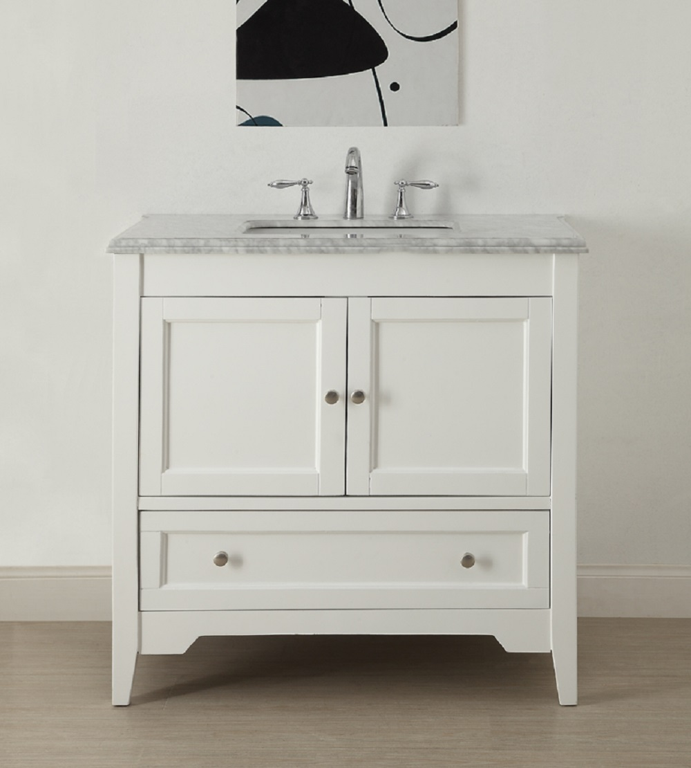 36 inch white shaker bathroom vanity with carrara marble for Bathroom cabinets 36