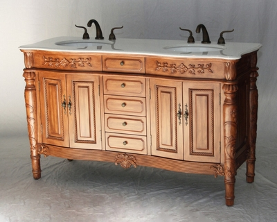 "60 inch Double Sink Bathroom Vanity Antique Traditional Style Walnut Color (60""Wx22""Dx36""H) S2206452W"