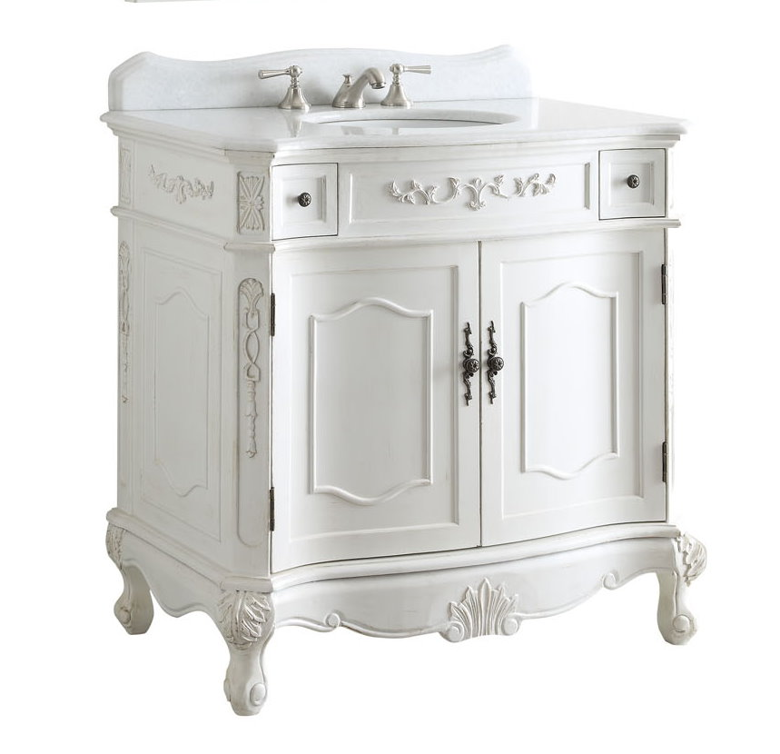 36 Inch Bathroom Vanity Traditional Style Antique White Color 36x21x35 H Cbc3905waw36