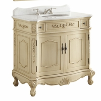 "36 inch Bathroom Vanity Traditional Style Cream Color (36""Wx21""Dx35""H) CBC3905WLT36"