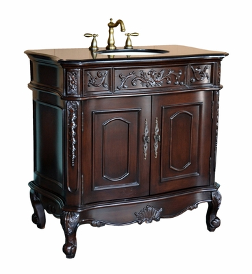 "36.5 inch Bathroom Vanity Rich Dark Mahogany & Black Galaxy Granite Top (36.5""Wx21""Dx37""H) CHF029GT"