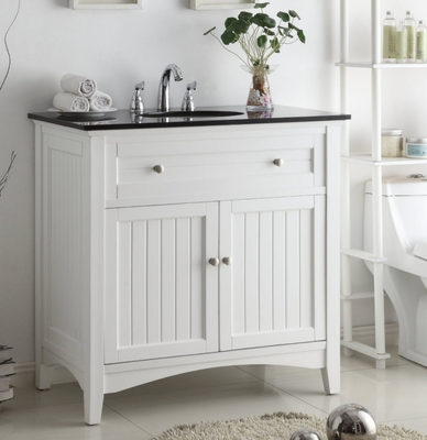 "37 inch Bathroom Vanity Coastal Casual Style Beadboard White Color (37""Wx21""Dx37""H) CCF47531"