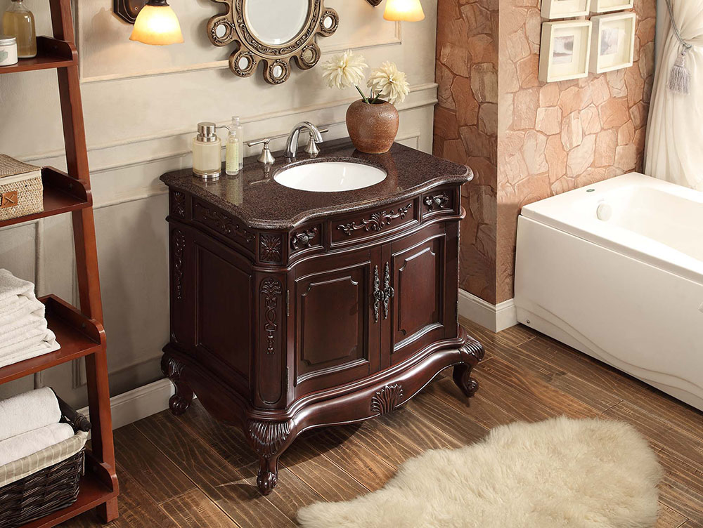 37 Inch Bathroom Vanity Rich Dark Cherry Finish 37 Wx22 Dx34 H Cgd9033v36