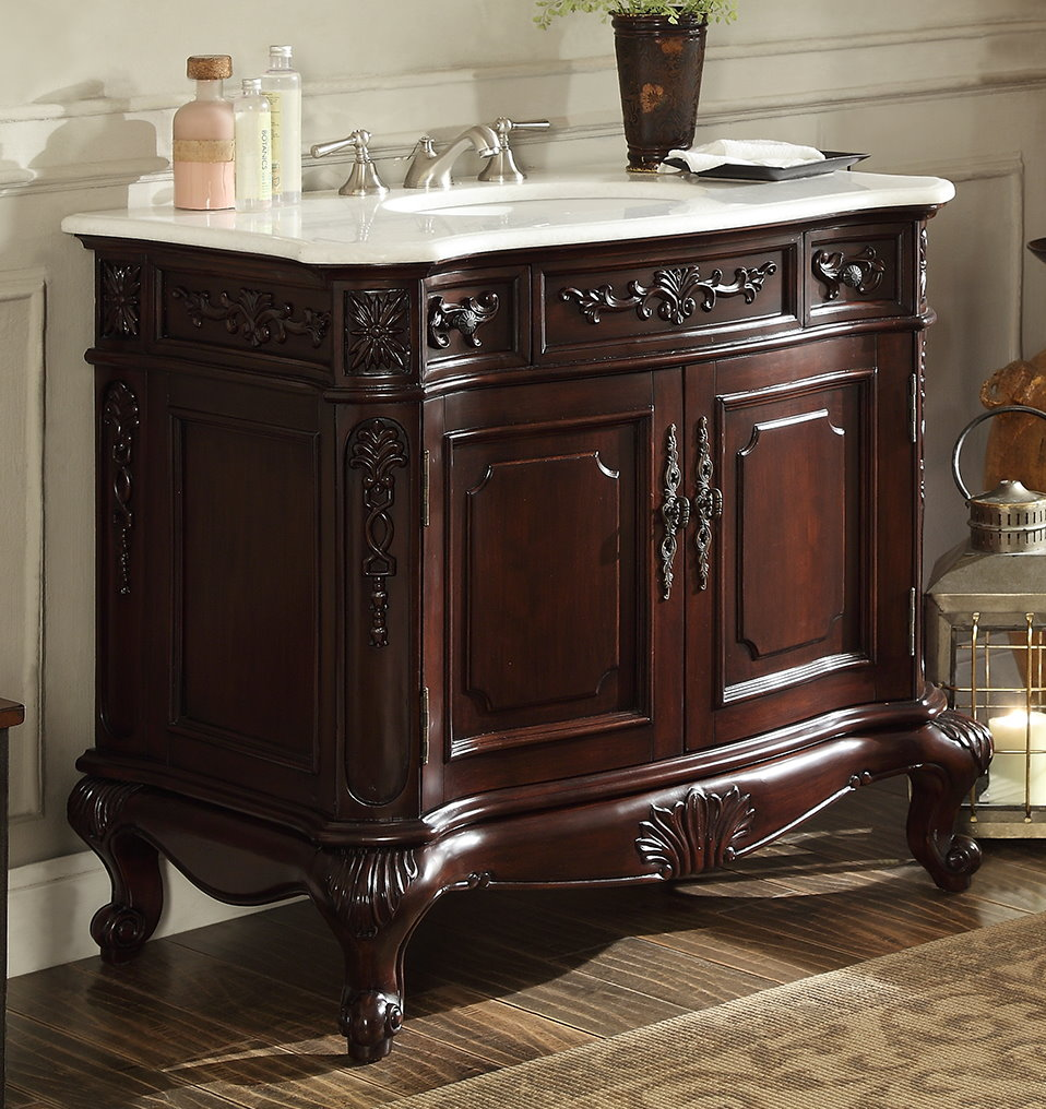 37 inch Bathroom Vanity Rich Cherry Finish & Crystall ...