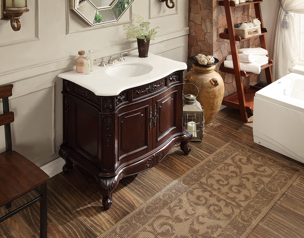 """37 inch Bathroom Vanity Rich Cherry Finish & Crystall White Marble Top (37""""Wx22""""Dx34""""H) CGD9033W36"""