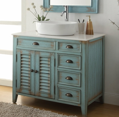 "36"" inch Bathroom Vanity Coastal Beach Style White Vessel Sink Teal Blue Color (36""Wx21.5""Dx32""H) CCF78886BU"
