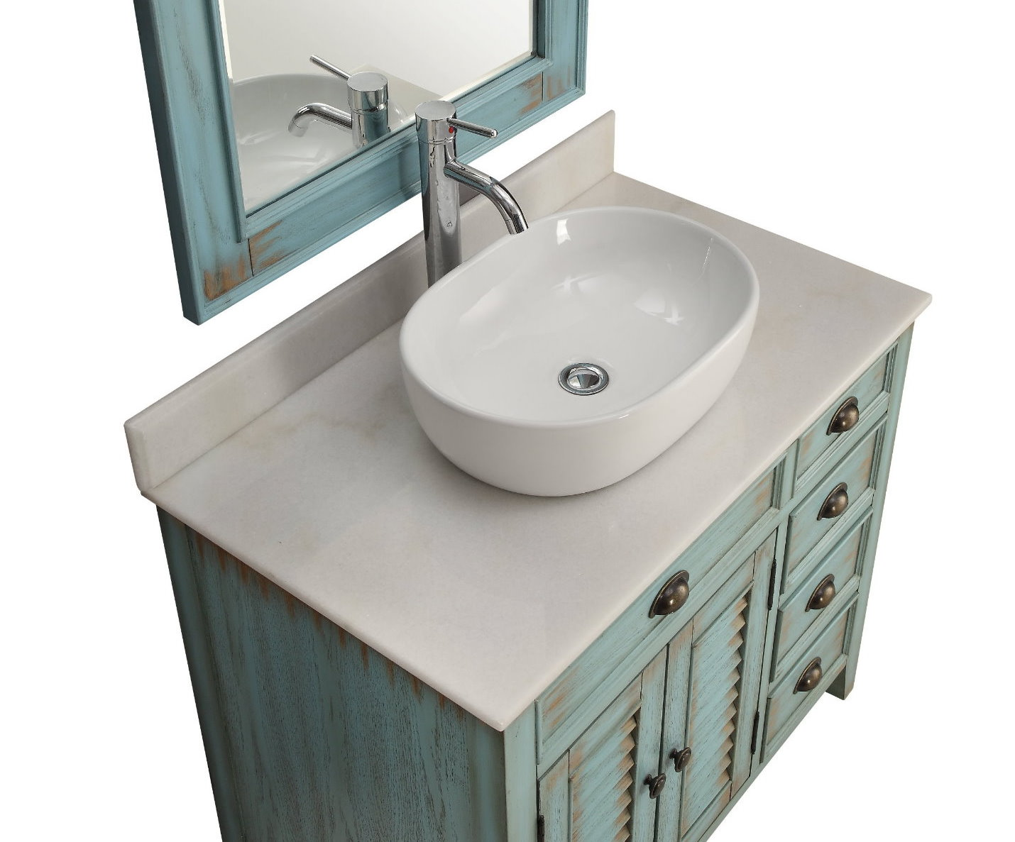 36 Quot Inch Bathroom Vanity Coastal Beach Style White Vessel