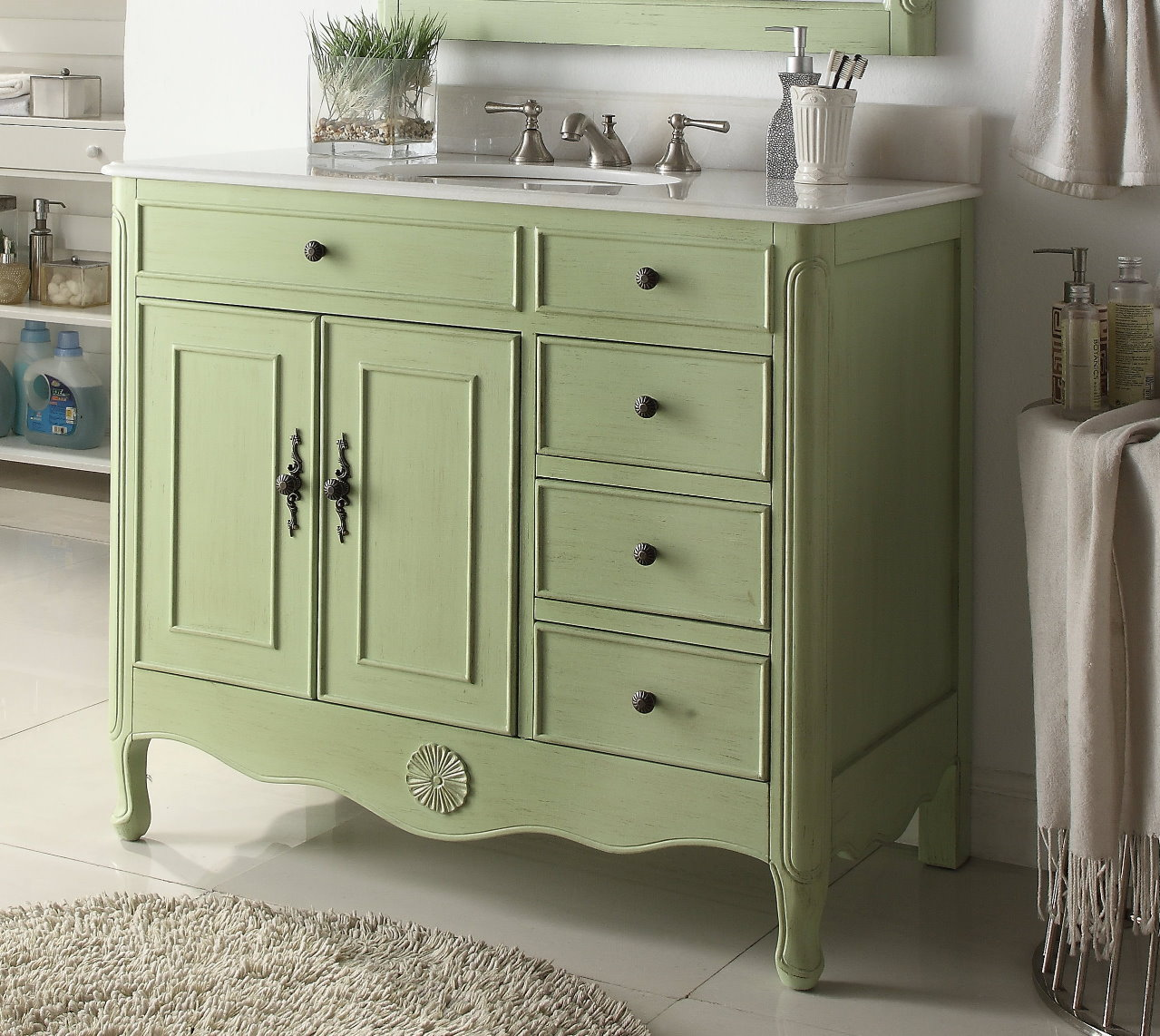 38 inch bathroom vanity with 3 drawers on the right cottage style distressed vintage green color for Bathroom vanities vintage style