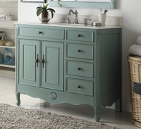 "38 inch Bathroom Vanity 3 Drawers Cottage Distressed Vintage Blue Color (38""Wx21""Dx35""H) CHF837YBS"
