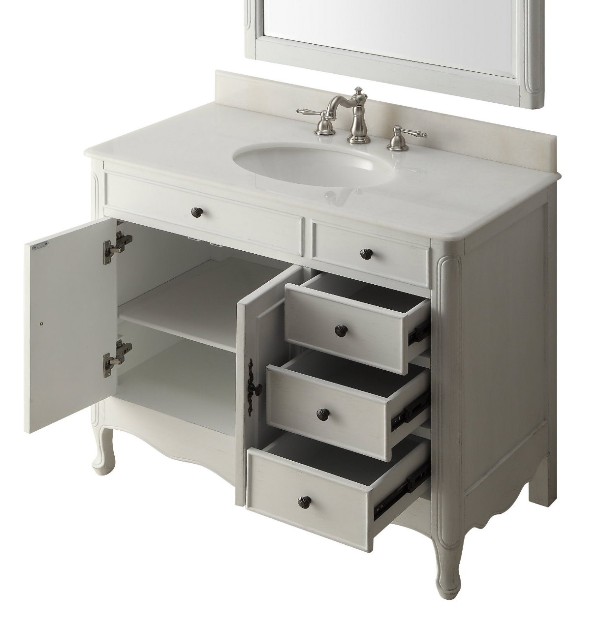 38 Inch Bathroom Vanity Cottage Style Distressed Antique White Color With 4 Drawers 38 Wx21