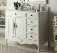 "38 inch Bathroom Vanity Cottage Style Distressed Antique White Color with 3 drawers (38""Wx21""Dx35""H) CHF837AW"
