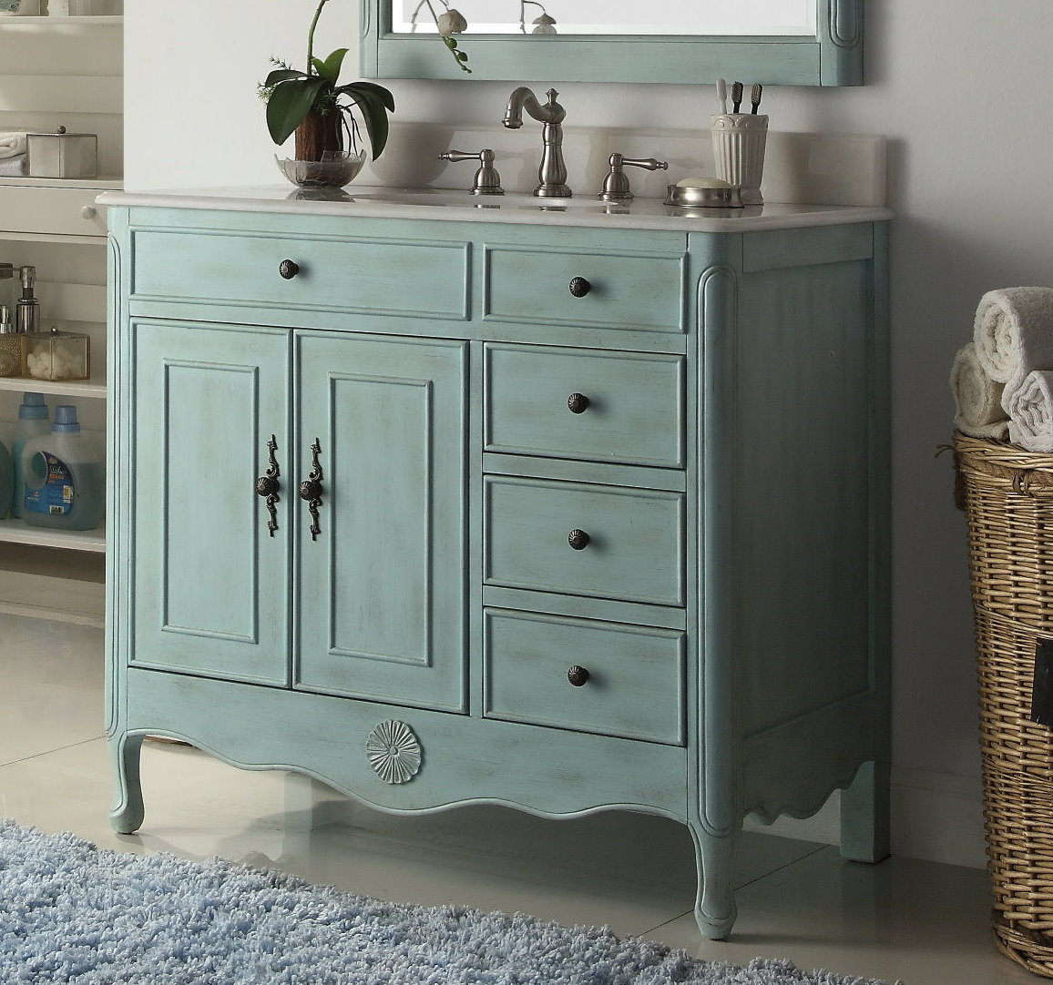 Nautical Style Bathroom Vanities: 38 Inch Bathroom Vanity With 3 Drawers On The Right