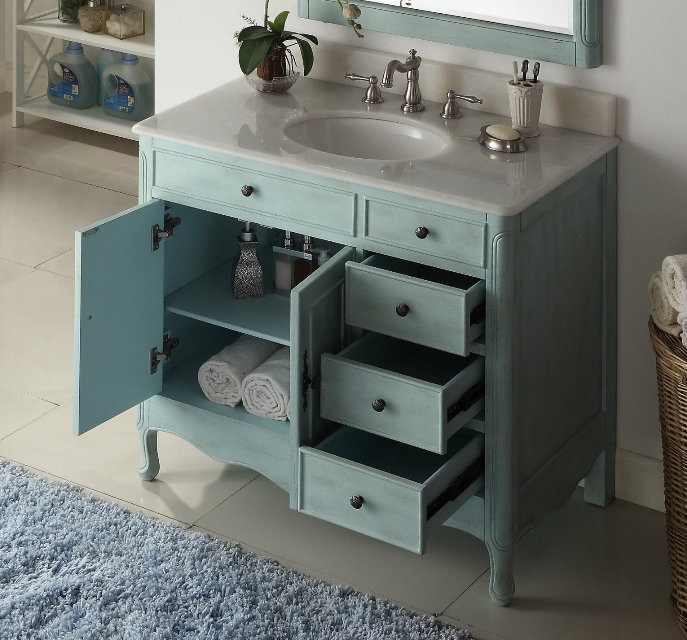 38 Inch Bathroom Vanity With 3 Drawers On The Right