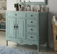 "38 inch Bathroom Vanity with 4 Drawers on The Right Cottage Style Distressed Vintage Light Blue Color (38""Wx21""Dx35""H) CHF837LBBS"