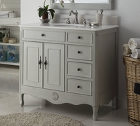 "38 inch Bathroom Vanity Distressed Vintage Gray Color with 4 Drawers on the right (38""Wx21""Dx35""H) CHF837CKBS"