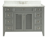 "50 inch Grey Beach Cottage Bathroom Vanity With Italian Carrara Marble Top (50""Wx23""Dx35""H) C3028CK50"