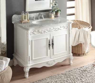 "39 inch White Traditional Bathroom Vanity & Carrara Top (39""Wx22""Dx35""H) CCF1092A"