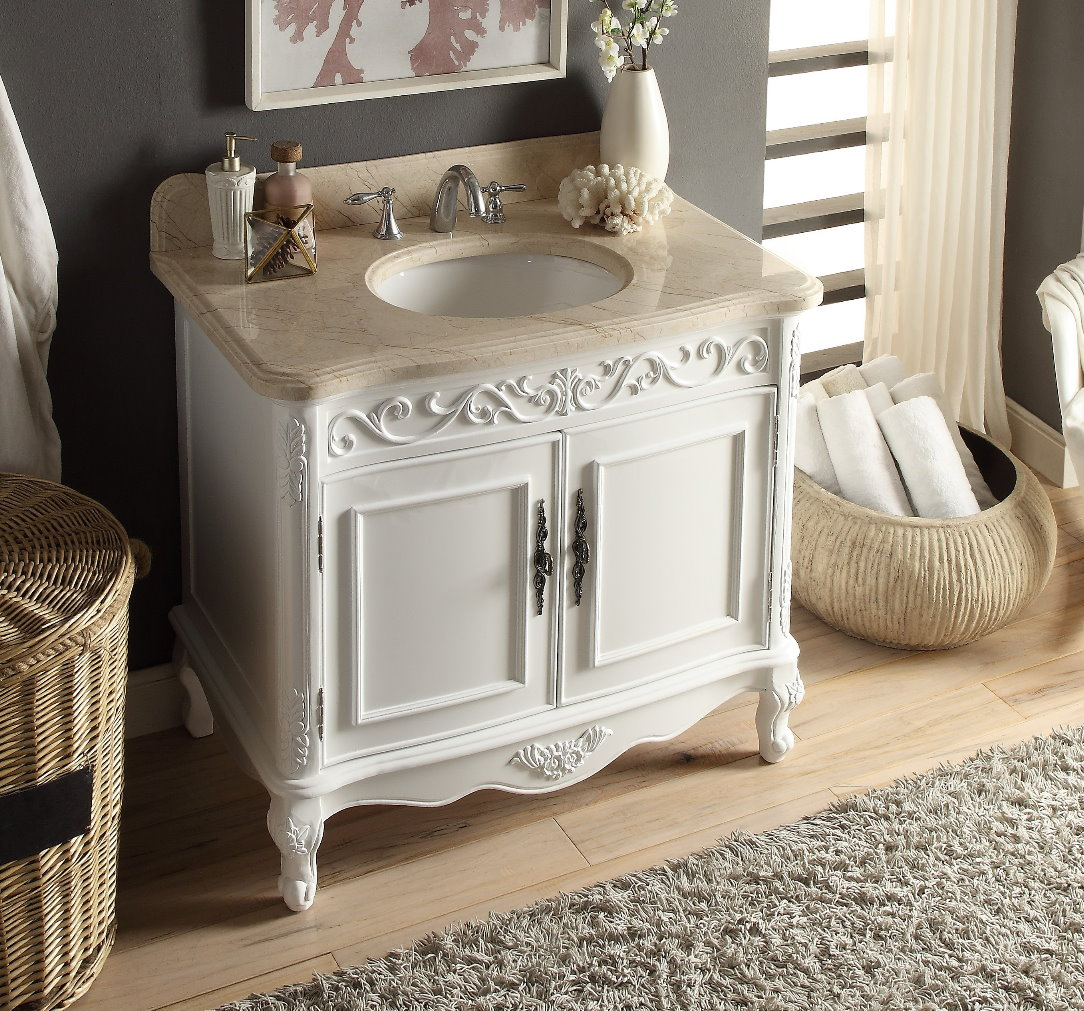 39 Inch White Color Bathroom Vanity Beige Marble Top 39 Wx22 Dx35 H Chf1092b