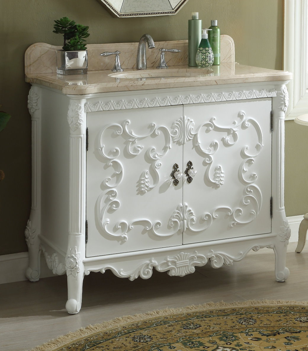 40 inch Bathroom Vanity French Baroque Vintage White Color ...
