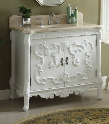 "40 inch Bathroom Vanity French Baroque Vintage White Color (40""Wx23""Dx34""H) CHF1091B"